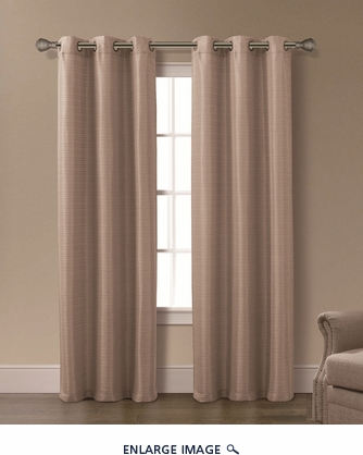 Pair of Isabelle Taupe Jacquard Window Curtain Panels w/Grommets