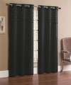 Pair of Jessica Black Faux Silk Window Curtain Panels w/Grommets