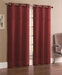 Pair of Jessica Burgundy Faux Silk Window Curtain Panels w/Grommets