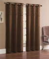 Pair of Jessica Chocolate Faux Silk Window Curtain Panels w/Grommets