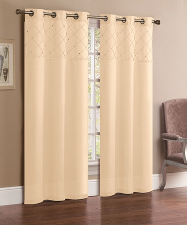 Pair of Jessica Ivory Faux Silk Window Curtain Panels w/Grommets