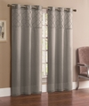 Pair of Jessica Silver Faux Silk Window Curtain Panels w/Grommets
