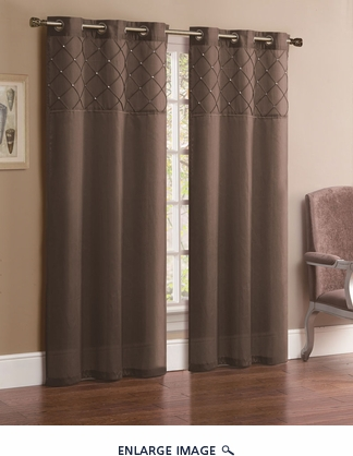 Pair of Jessica Taupe Faux Silk Window Curtain Panels w/Grommets