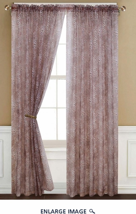 Pair of Leopard Sheer Window Curtain Panels