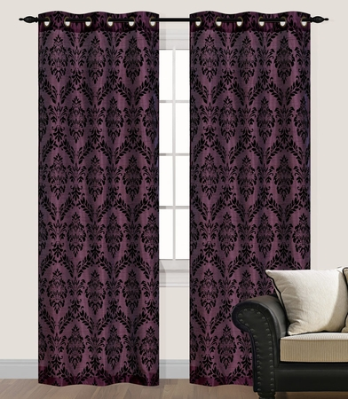 Pair of Marcy Magenta Flocking Window Curtain Panels w/Grommets