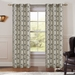 Pair of Perla Ivory/Black Jacquard Window Curtain Panels w/Grommets