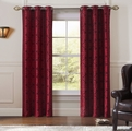 Pair of Perla Red/Black Jacquard Window Curtain Panels w/Grommets