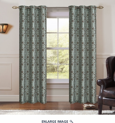 Pair of Perla Spa/Chestnut Jacquard Window Curtain Panels w/Grommets