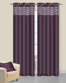 Pair of Sparkle Plum Faux Silk Window Curtain Panels w/Grommets