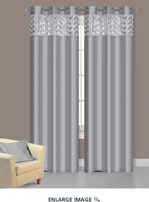 Pair of Sparkle Silver Faux Silk Window Curtain Panels w/Grommets
