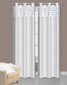 Pair of Sparkle White Faux Silk Window Curtain Panels w/Grommets