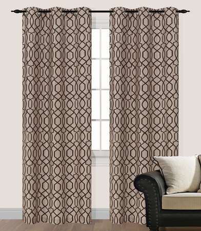 Pair of Steven Taupe Flocking Window Curtain Panels w/Grommets