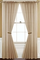 Pair of Taupe Rod Pocket Sheer Window Curtain Panels