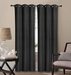 Pair of Waverly Black Jacquard Blackout Window Curtain Panels w/Grommets