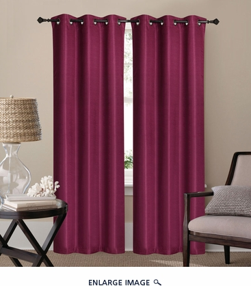Pair of Waverly Burgundy Jacquard Blackout Window Curtain Panels w/Grommets