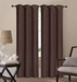 Pair of Waverly Chocolate Jacquard Blackout Window Curtain Panels w/Grommets