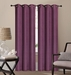 Pair of Waverly Plum Jacquard Blackout Window Curtain Panels w/Grommets