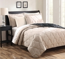Parker Taupe/BlackReversible Bedspread/Quilt Set King
