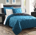 Parker Teal/Black Reversible Bedspread/Quilt Set King