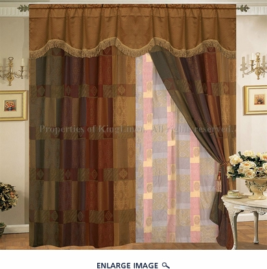 Patchwork Tapestry Curtain Set w/ Valance/Sheer/Tassels