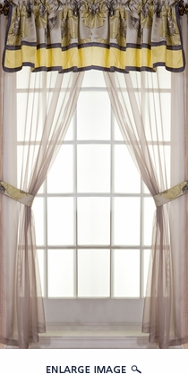 Peony Jacquard Curtain Set w/ Valance/ Tiebacks / Sheers