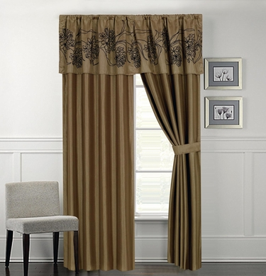 Peyton Olive and Gold Curtain Set