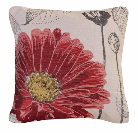 Pink Aster Decorative Square Throw Pillow 18