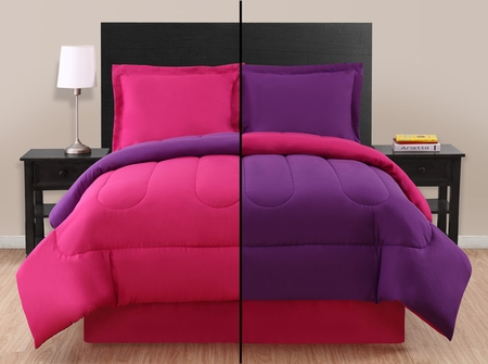 Twin Pink/ Purple Reversible Comforter Set