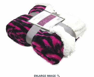 Pink Zebra Faux Fur Throw