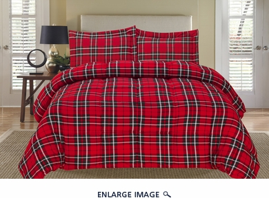 Plaid Red Down Alternative Comforter Set Full/Queen