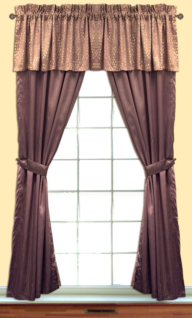 Polka Dot Jacquard Curtain Set W Valance Tiebacks Sheers