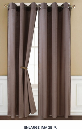 Poly Dolly Chocolate Grommet Window Curtain Panel