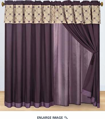 Purple and Beige Embroidered Curtain Set w/ Valance/Sheer/Tassels