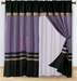 Purple and Black Embroidered Curtain Set w/ Valance/Sheer/Tassels