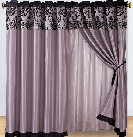 Purple and Black Floral Curtain Set w/ Valance/Sheer/Tassels