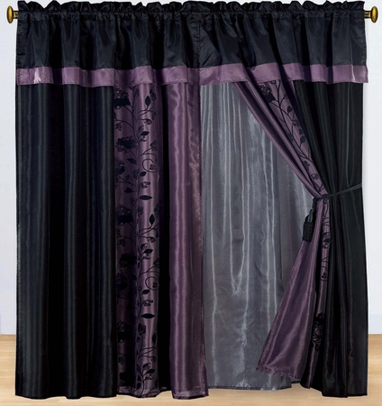 Purple and Black Floral Flocked Curtain Set w/ Valance/Sheer/Tassels