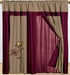 Red and Taupe Embroidered Curtain Set w/ Valance/Sheer/Tassels