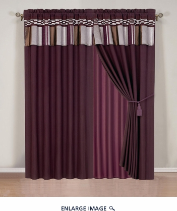 Purple and Silver Chenille Stripes Curtain Set