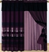 Purple Chenille Stripes Curtain Set
