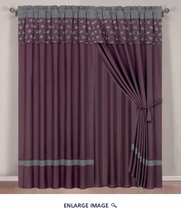 Purple Floral Embroidered Curtain Set w/ Valance/Sheer/Tassels