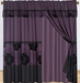 Purple Floral Flocking Curtain Set w/ Valance/Sheer/Tassels