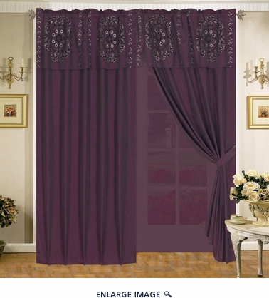 Purple Floral Flocking Stripes Curtain Set w/ Valance/Sheer