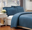 Queen China Blue 500 Thread Count Cotton Check Dots Duvet Cover Set