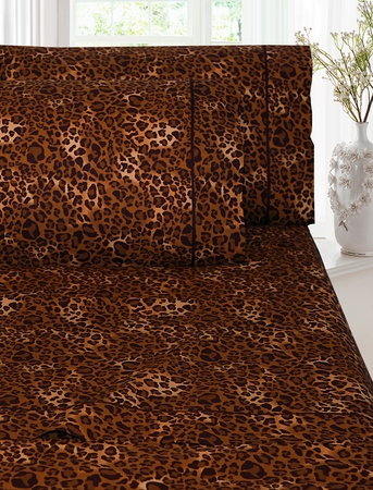Queen Leopard Print Cotton Sheet Set