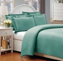 Queen Wasabi 500 Thread Count Cotton Check Dots Duvet Cover Set