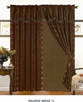 Retro Geo Curtain Set w/ Valance/Sheer