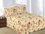 Rose / Circle Print Reversable Quilt Set Queen