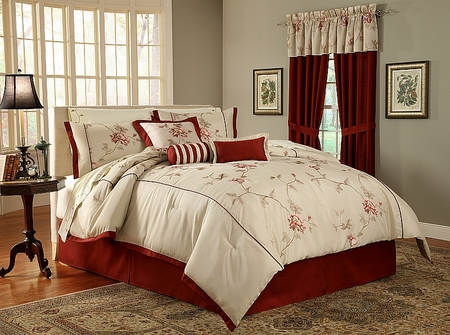 Rosebud 280 Thread Count Cotton Sateen Sheet Set Full