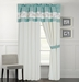 Rosella Aqua and White Curtain Set