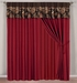 Rylee Floral Embroidered Curtain Set w/ Valance/Sheer/Tassels